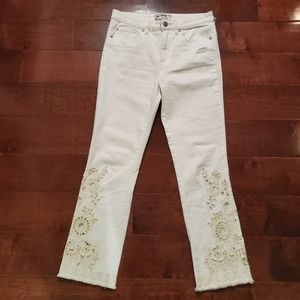 NEW! Free People Embroidered Raw Hem Pants Size 28